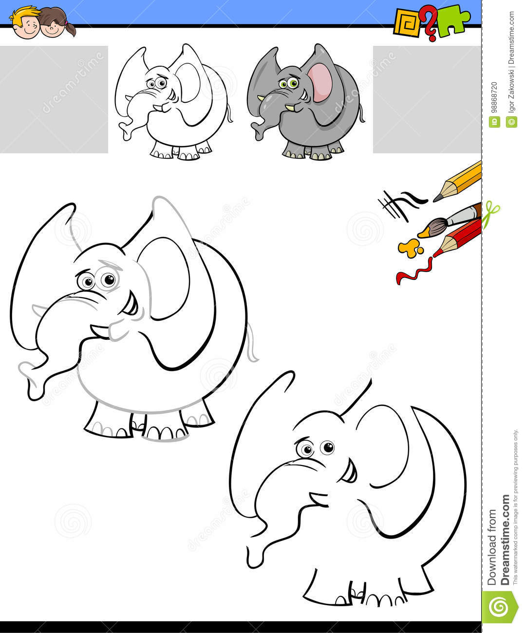 Drawing And Coloring Worksheet With Elephant Stock Vector