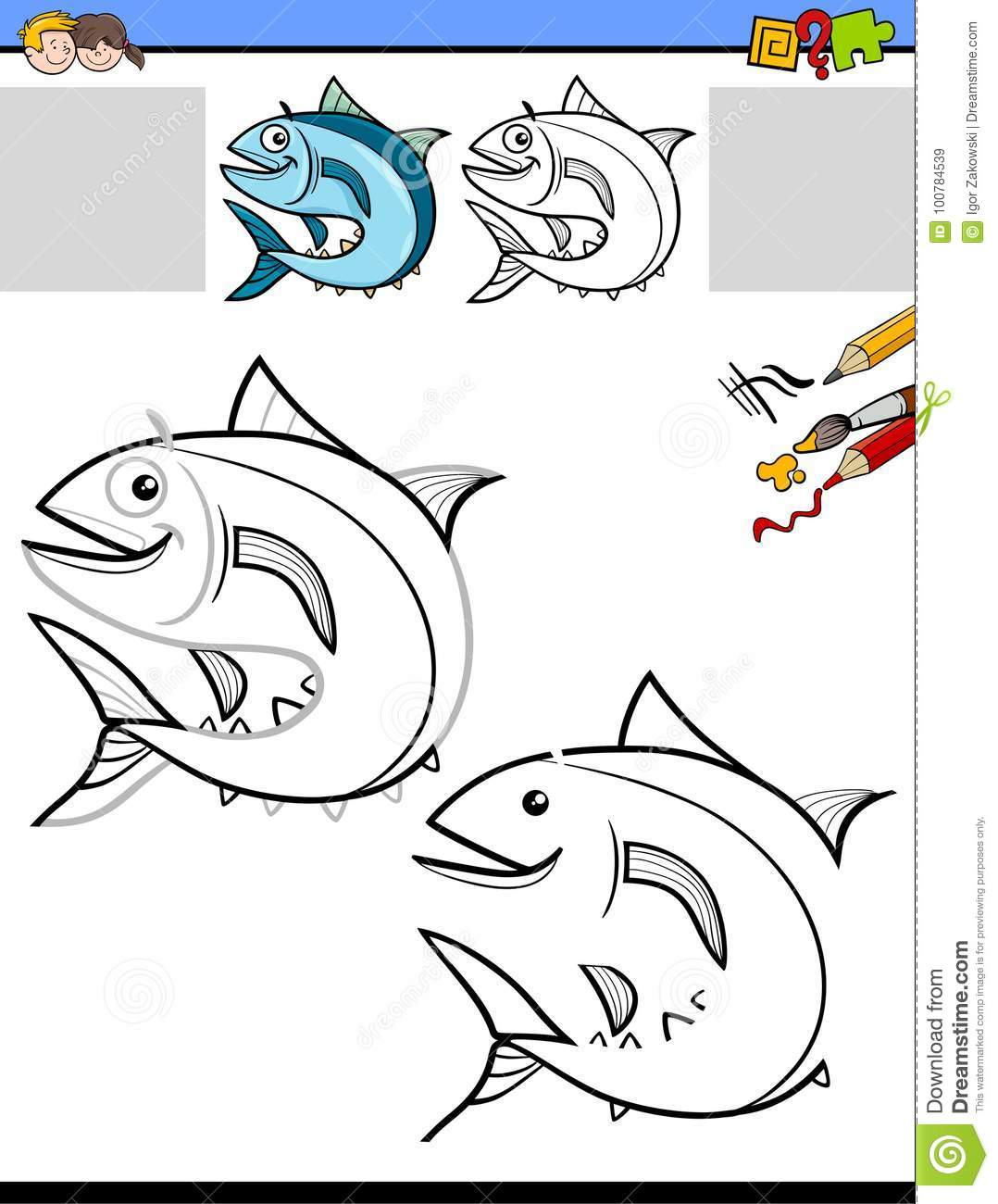 Drawing And Coloring Worksheet With Fish Stock Vector