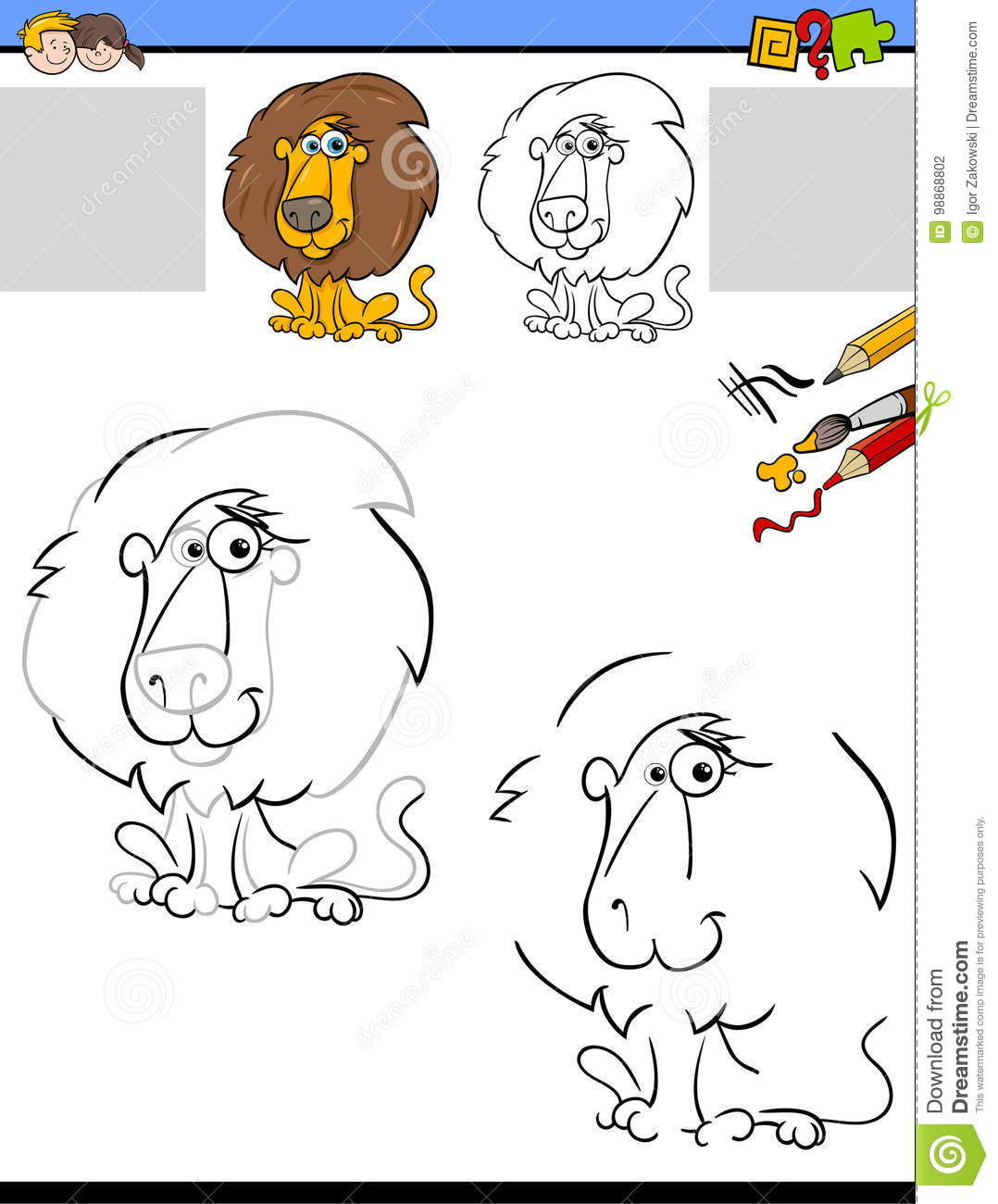 Drawing And Coloring Worksheet With Lion Stock Vector
