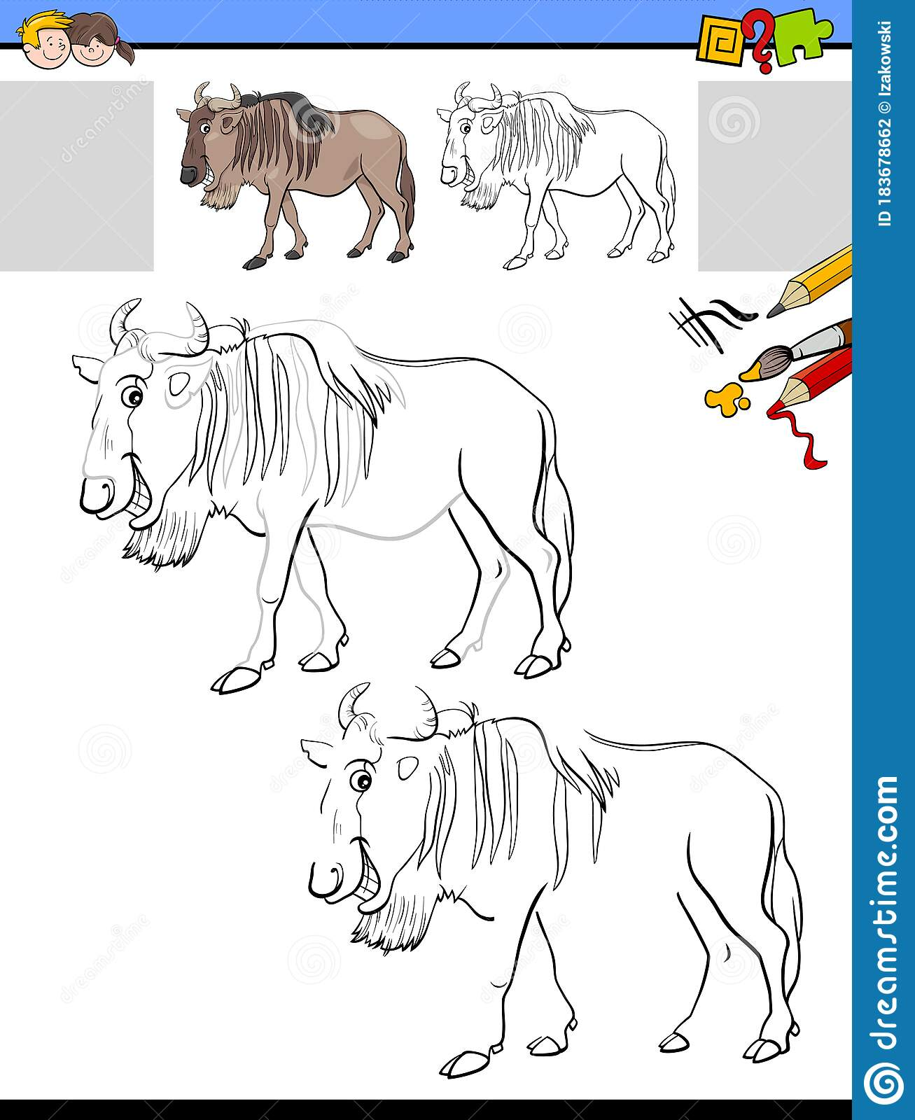 Drawing And Coloring Worksheet With Wildbeast Animal Stock