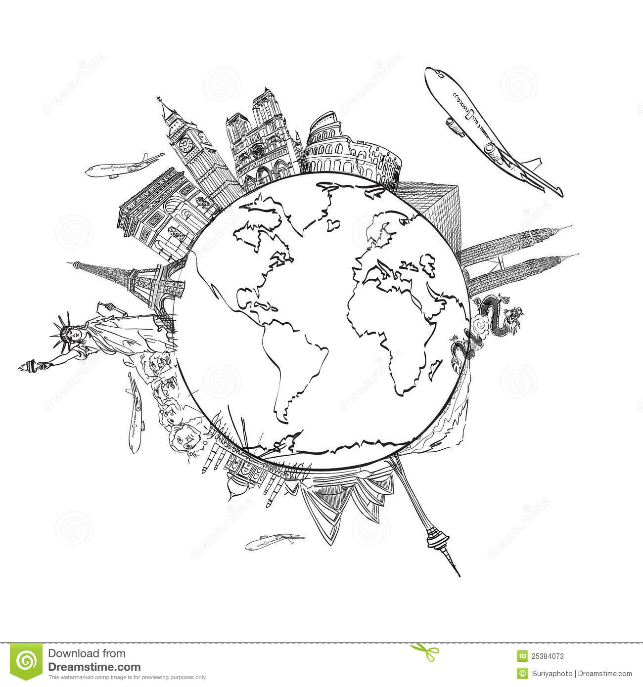 Drawing The Dream Travel Around The World Stock Photos