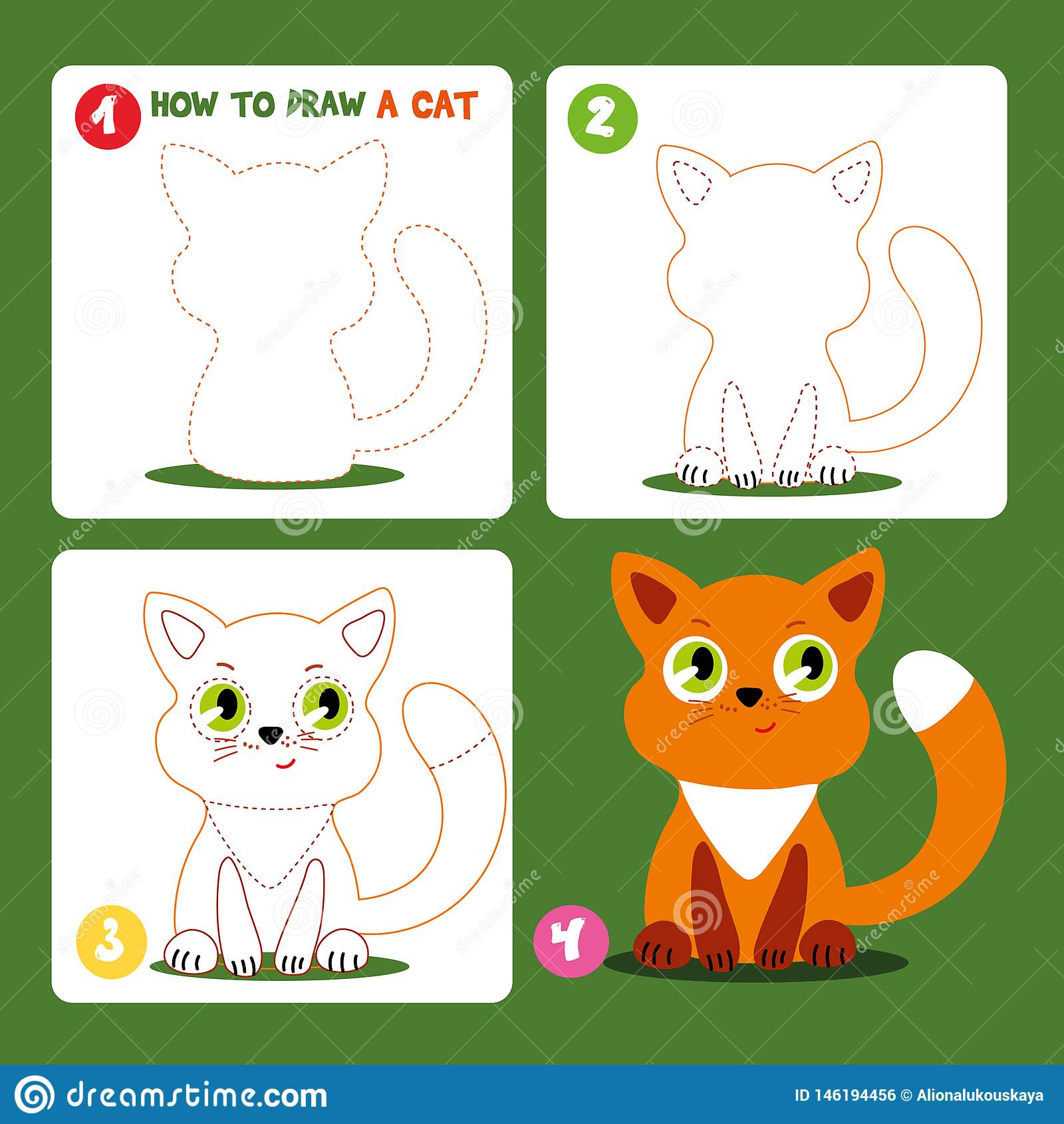 Drawing Game Step Tutorial Little Cat Worksheet Stock