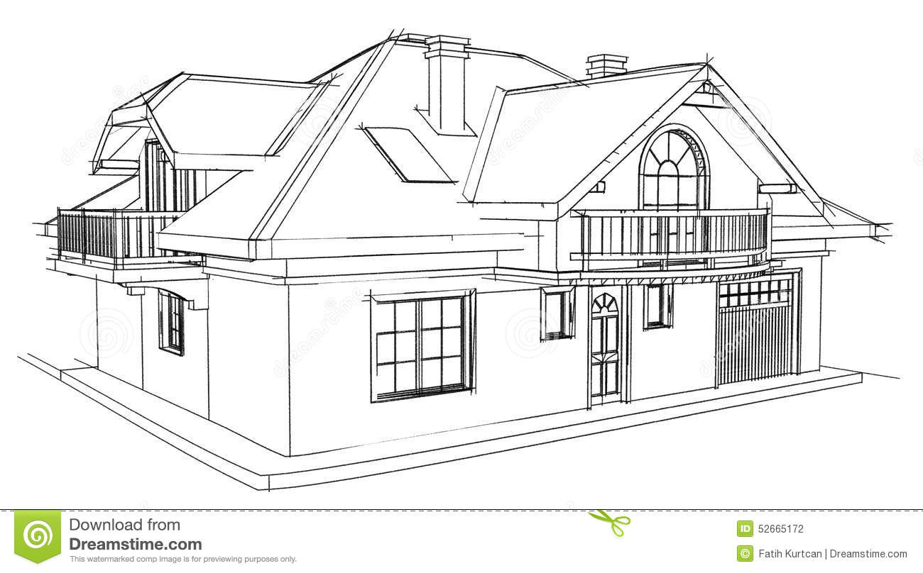 Drawing Home Stock Illustration Illustration Of Built
