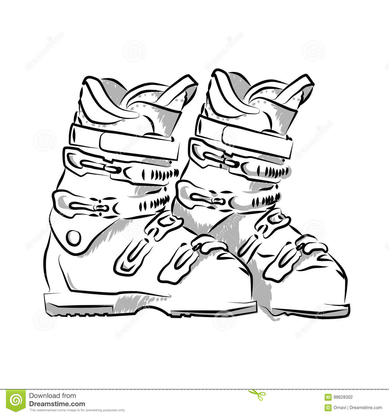 Drawing Of Ski Boots Stock Vector Illustration Of Outline