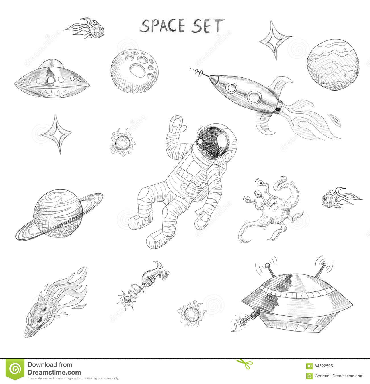 Drawing Of Space Objects Astronaut Alien Ufo Spaceship