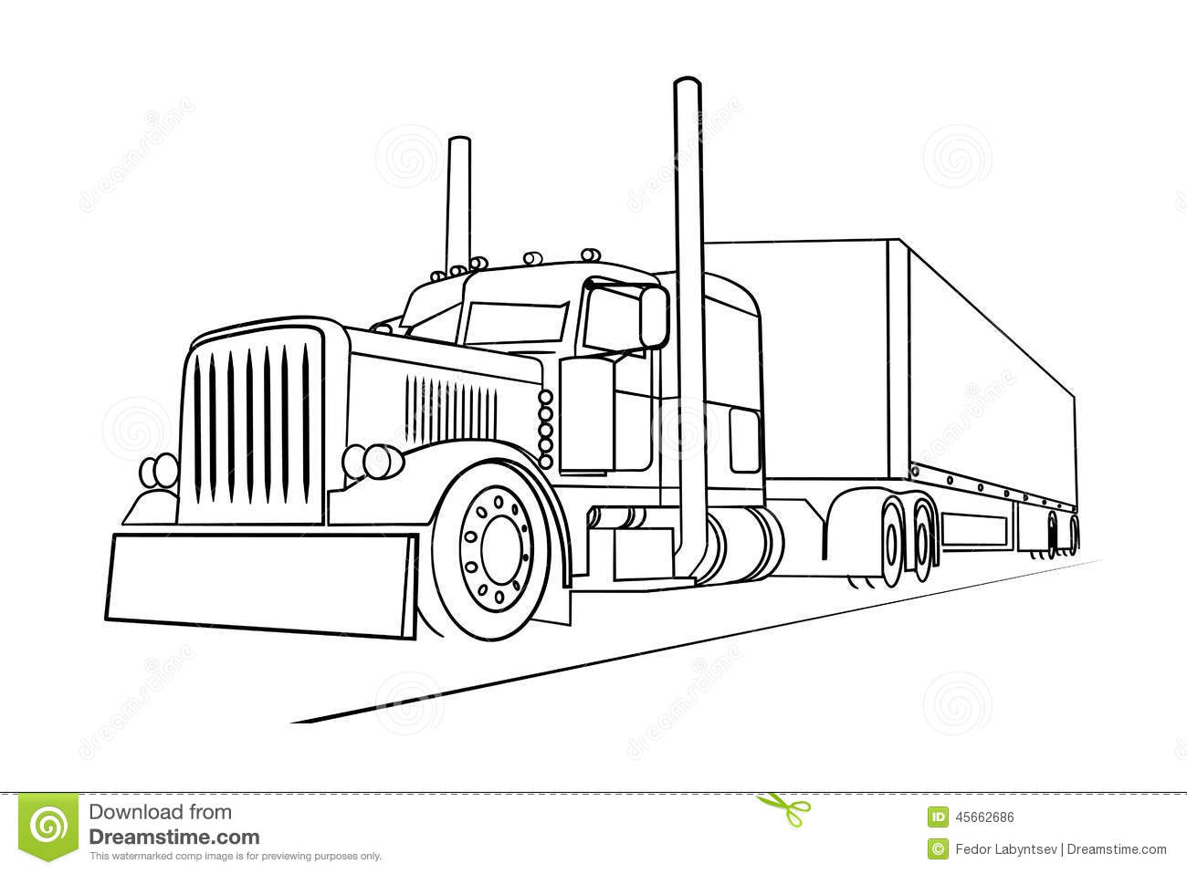 Drawing Of The Truck Transporting A Load Stock Vector