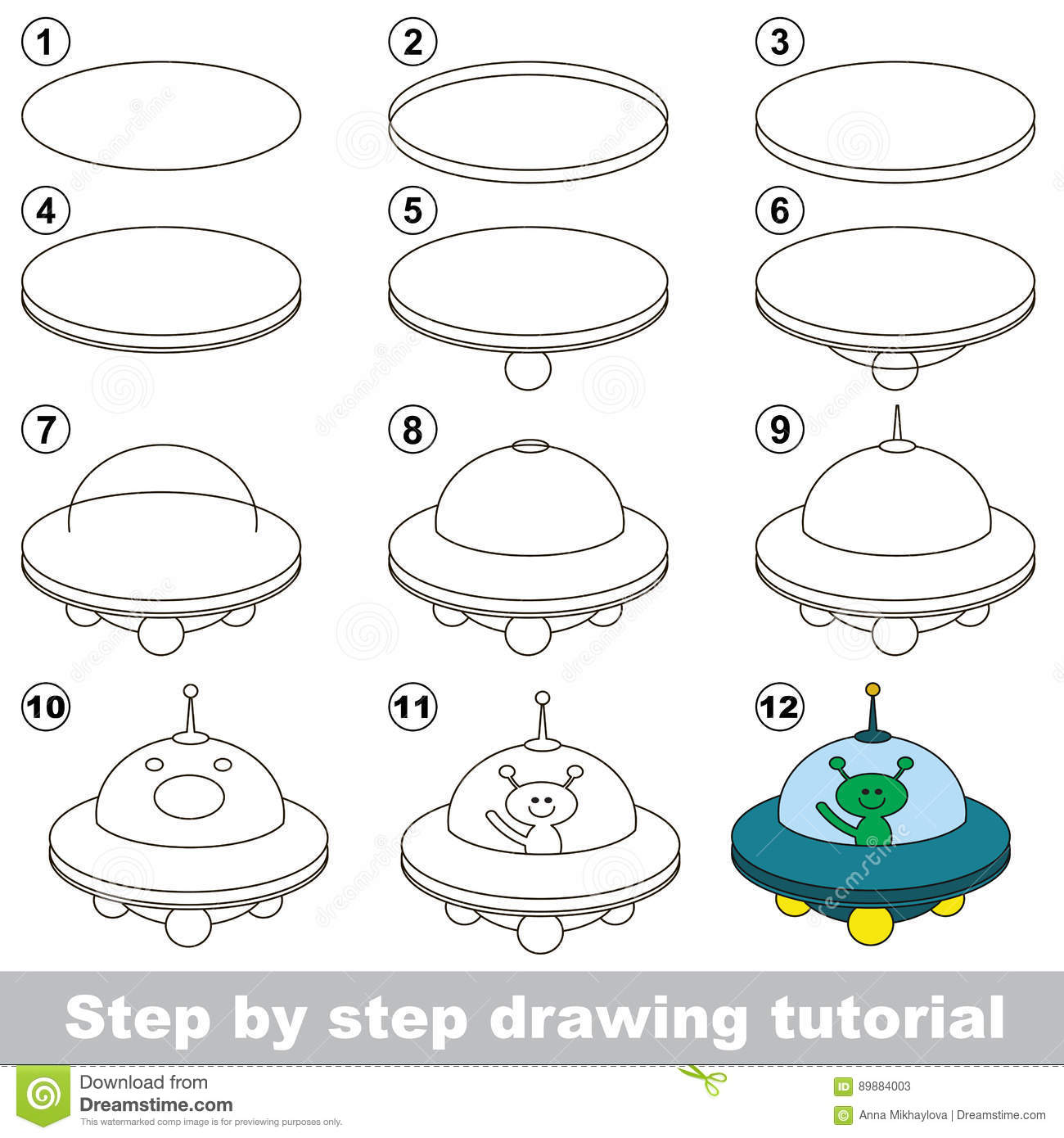Drawing Tutorial Game For Ufo Stock Vector