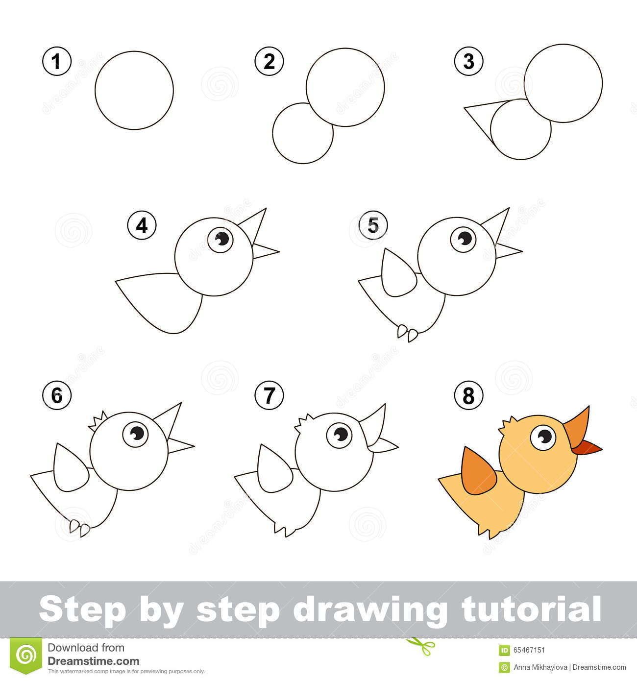 Drawing Tutorial How To Draw A Bird Stock Vector