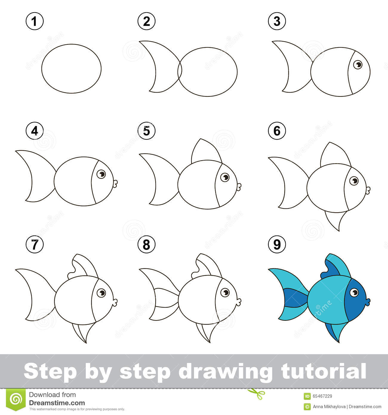 Drawing Tutorial How To Draw A Cute Fish Stock Vector