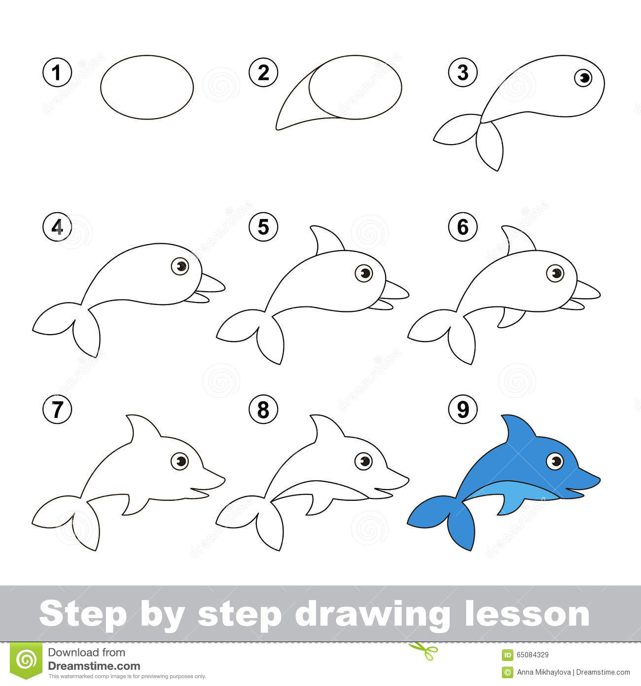Drawing Tutorial How To Draw A Dolphin Stock Vector