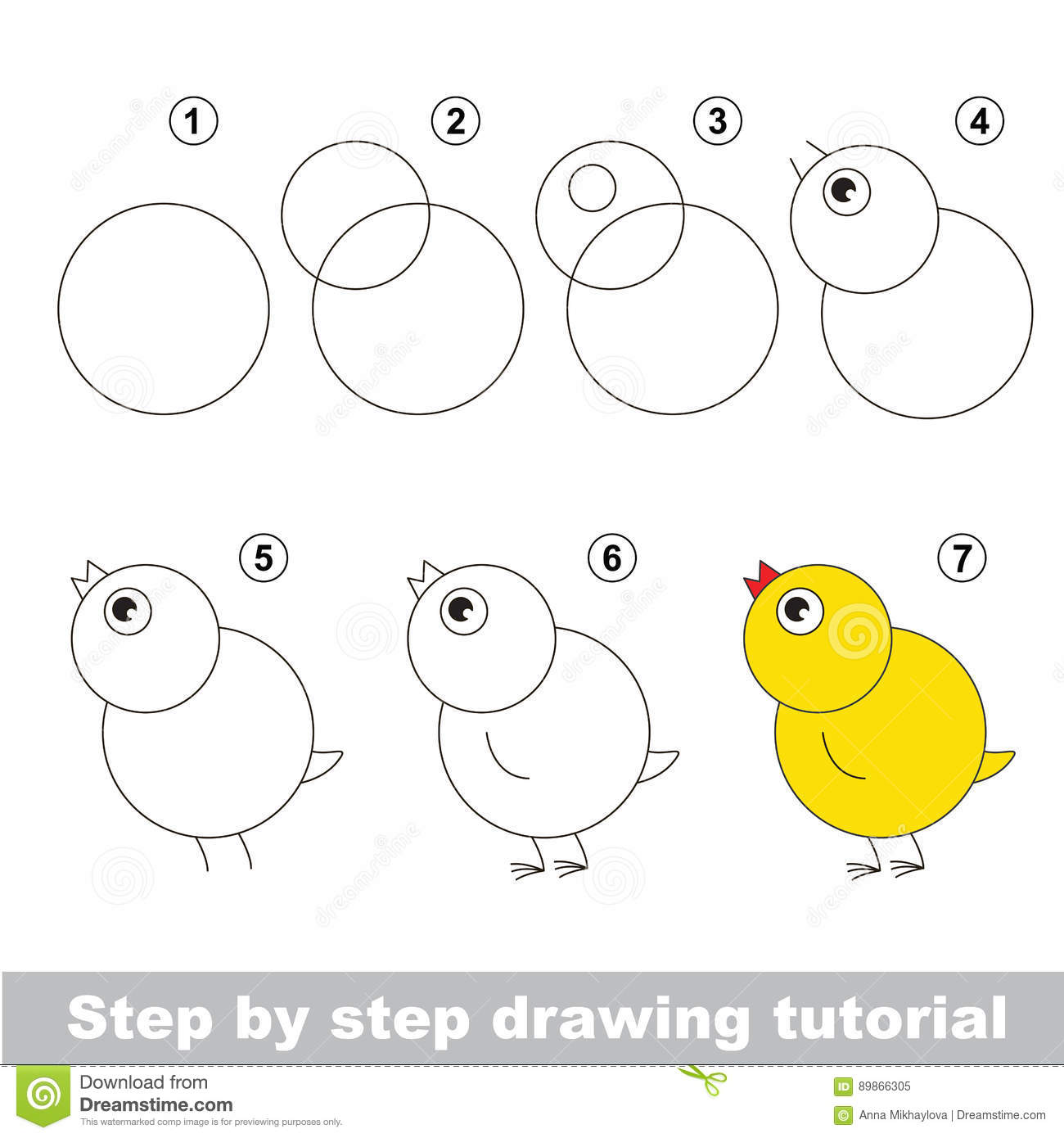Drawing Tutorial How To Draw Funny Chicken Stock Vector