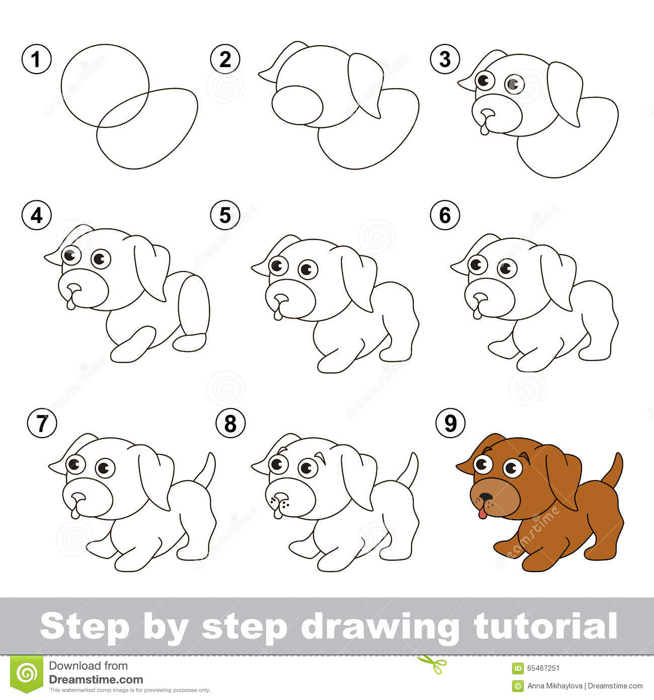 Drawing Tutorial How To Draw A Little Puppy Stock Vector
