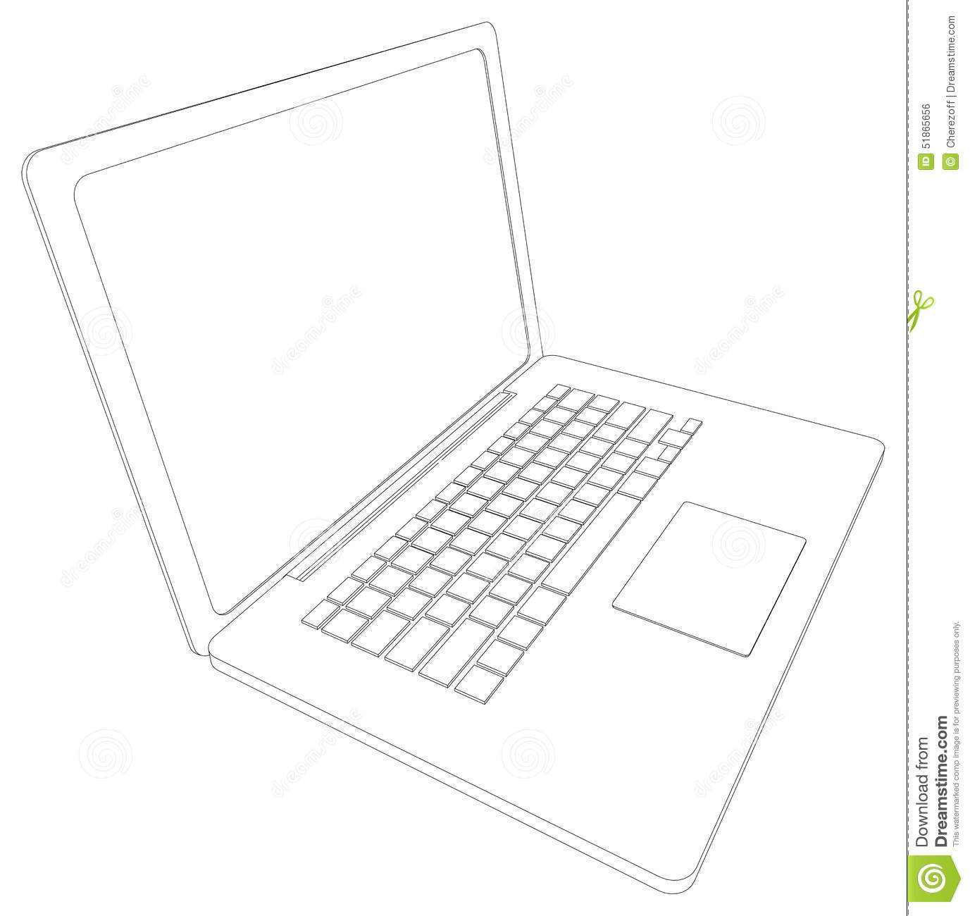 Drawing Of Wire Frame Open Laptop Perspective Stock