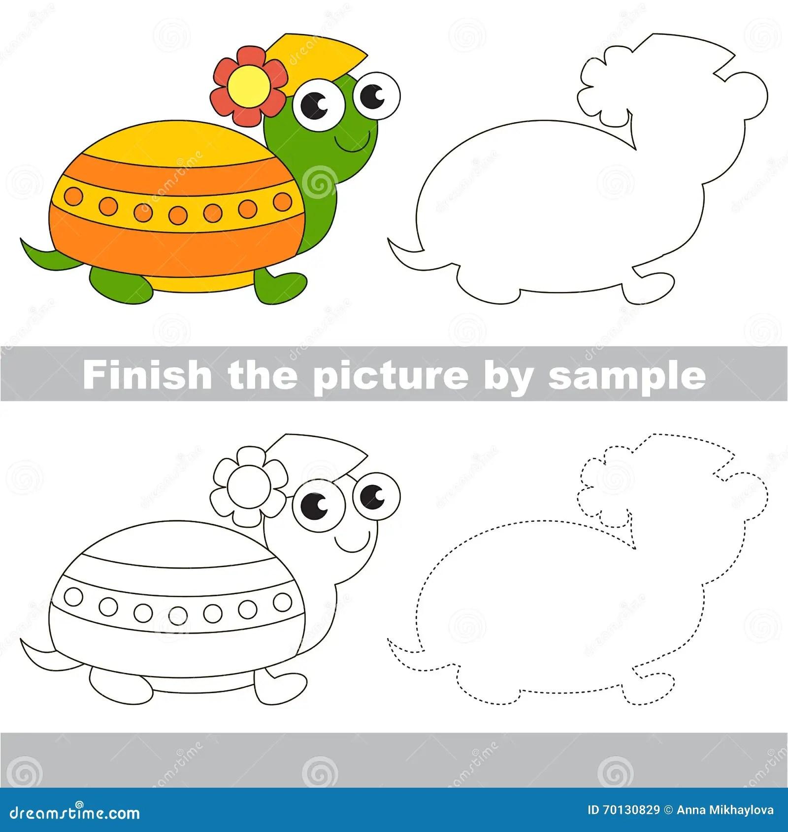 Turtle Drawing Worksheet Stock Illustration