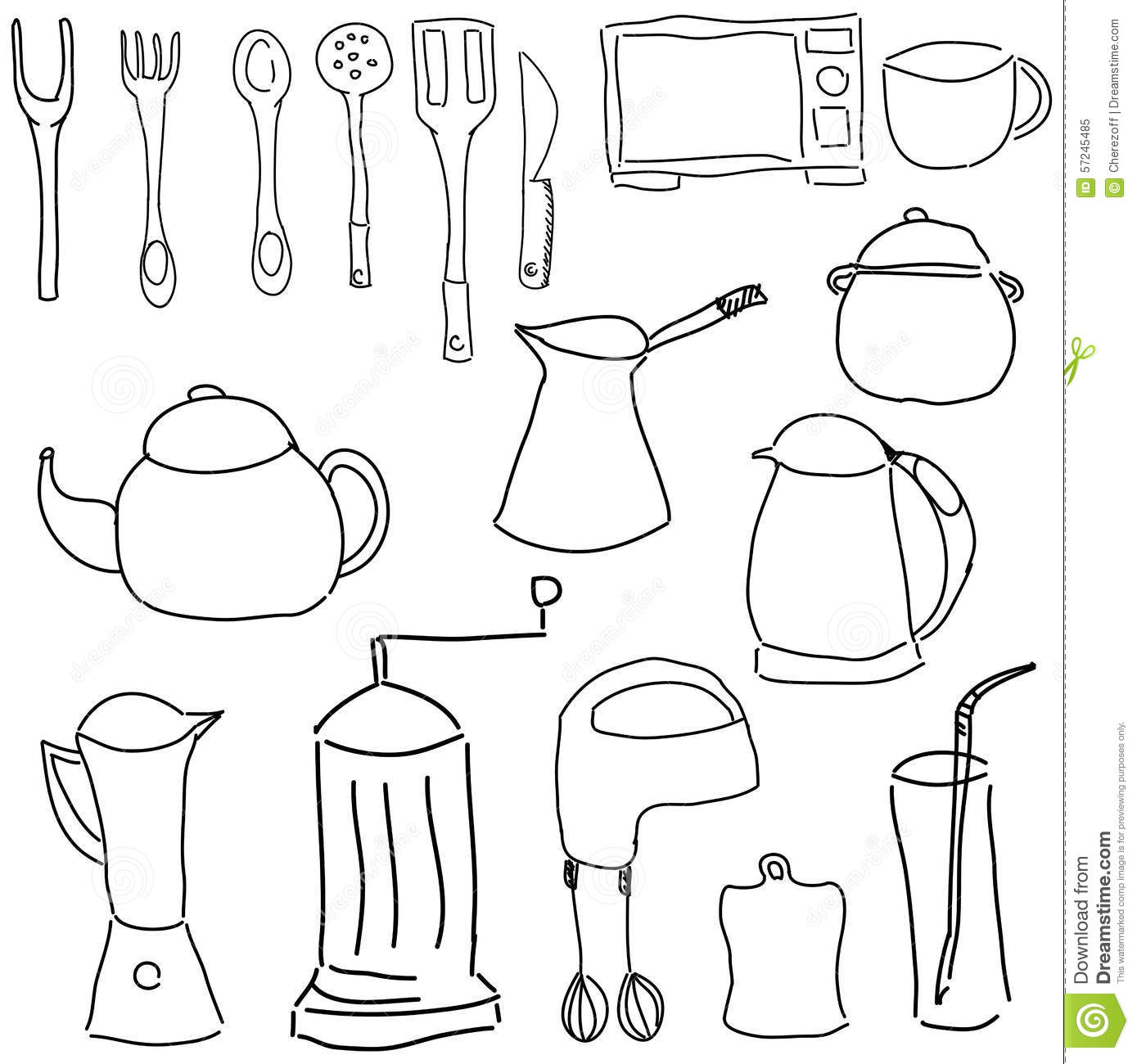 Drawn Picture With Kitchen Stuff Stock Vector
