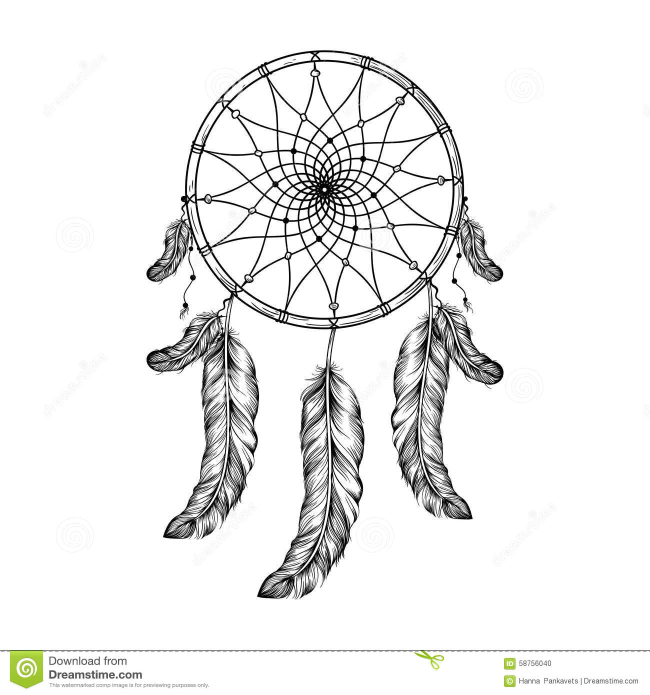 Dream Catcher With Feathers In Zentangle Style High