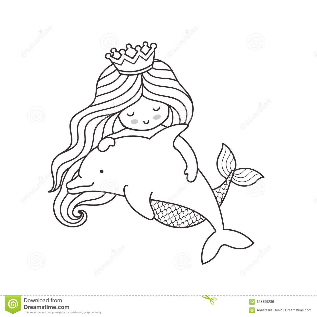 Dreamy Little Mermaid Floating With Dolphin Stock Vector
