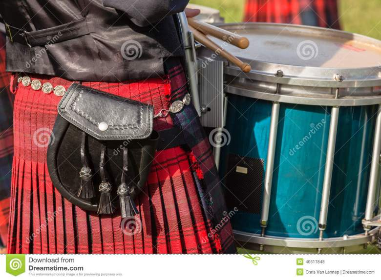 dress colors scottish bands highland gathering editorial stock photo