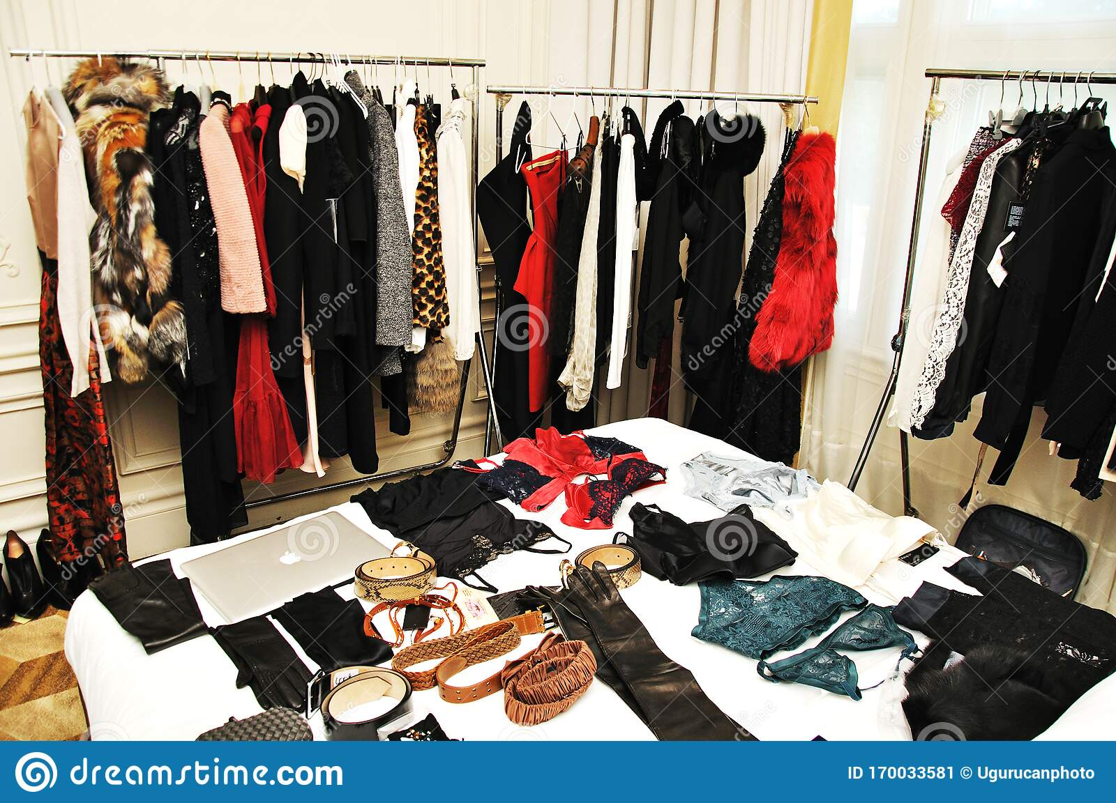 https www dreamstime com dresses hanging clothes spread over bed dressing room scattered version bedroom covered jewelery accessories image170033581