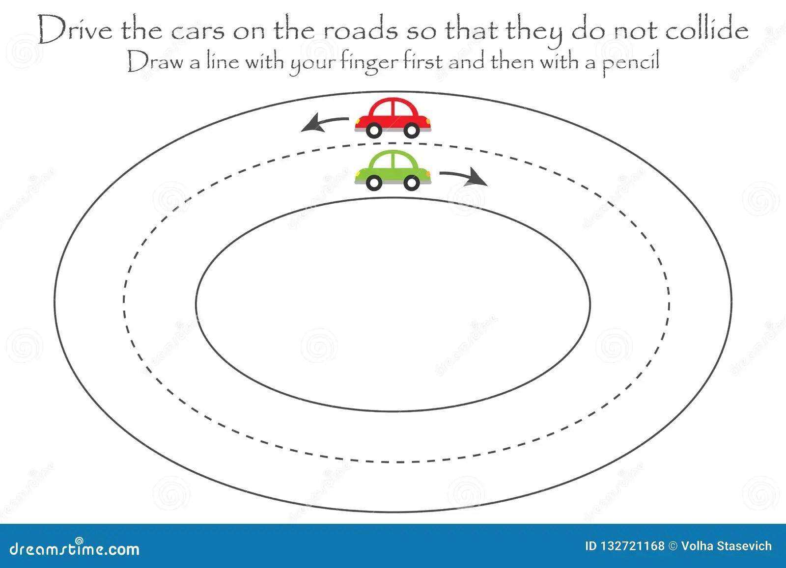 Drijf De Auto S Op De Weg Het Blad Van De