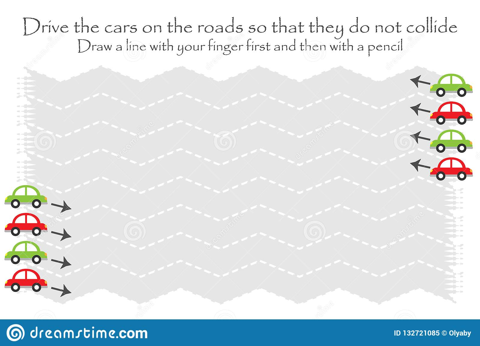 Drive The Cars On The Road In Two Directions Zigzag