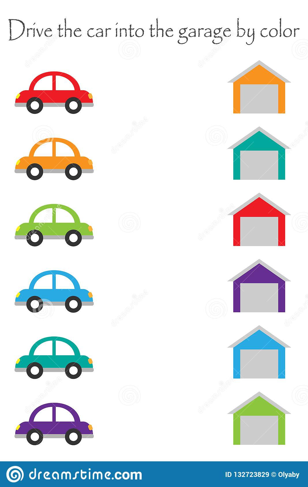 Drive Colorful Cars In Cartoon Style Into Garages By Color