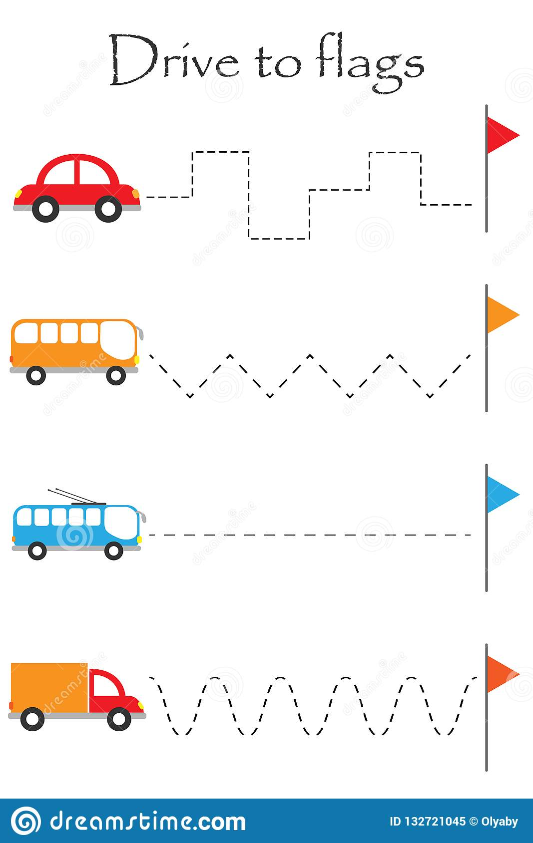 Drive Transport To Flags Handwriting Practice Sheet Kids