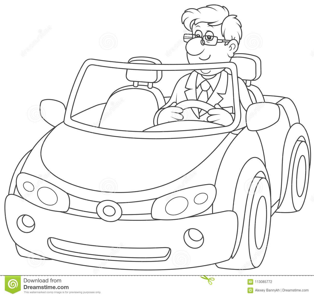 Driver In A Black Cabriolet Stock Vector