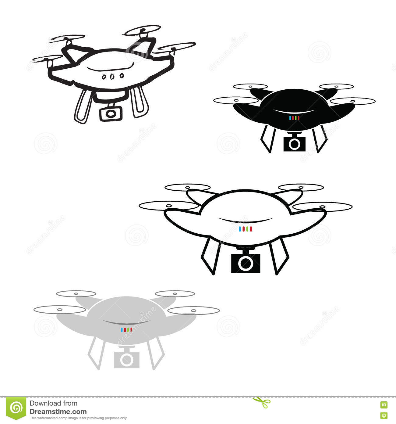 Drone Quadcopter With Camera Icons Stock Vector