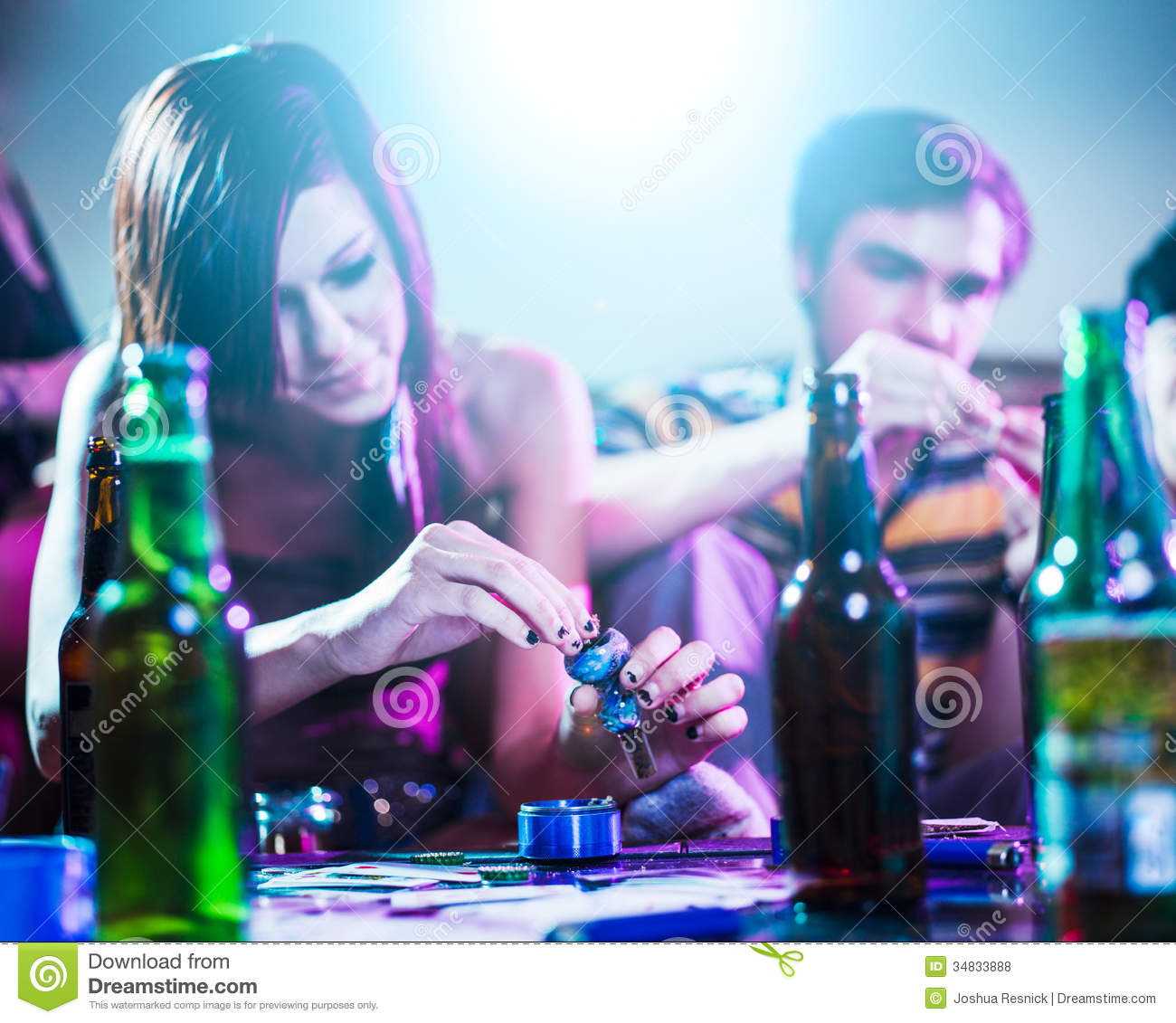 Drug Using Teens At House Party Stock Photo
