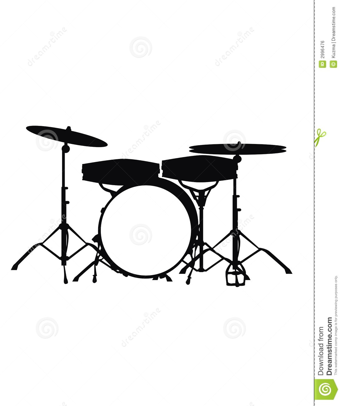 Drumset Stock Vector Image Of Black Drums Drummer Silhouette