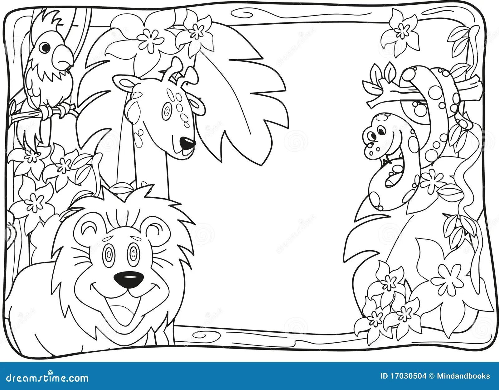 Dschungel Einladung Lineart Stock Abbildung