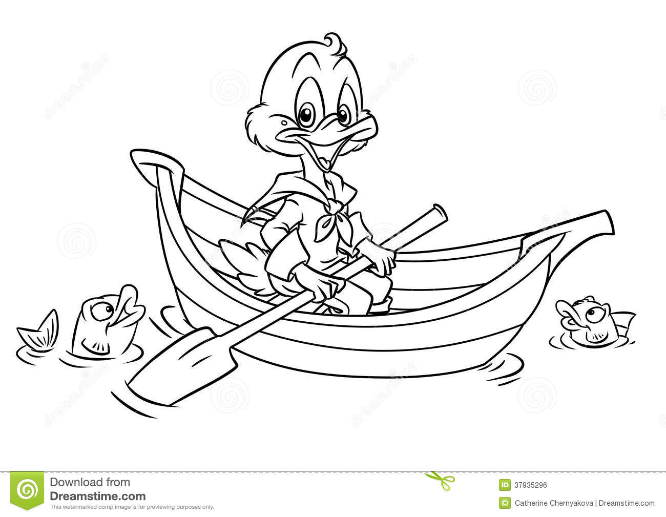Duck In The Boat Coloring Pages Stock Illustration
