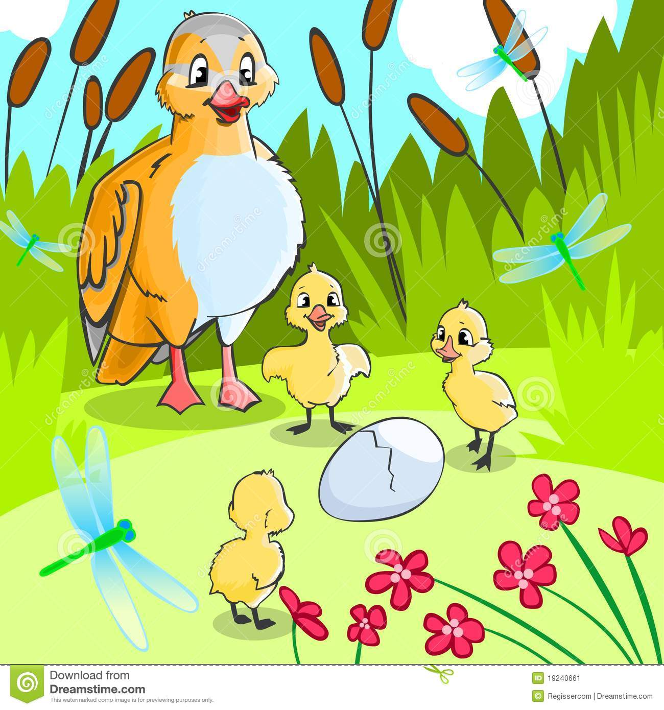 Duck With Ducklings Stock Illustration Illustration Of