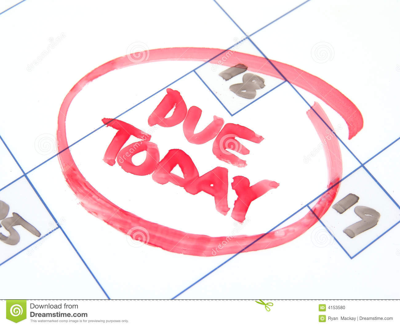 Due Today Stock Photo Image Of Outstanding Upcoming