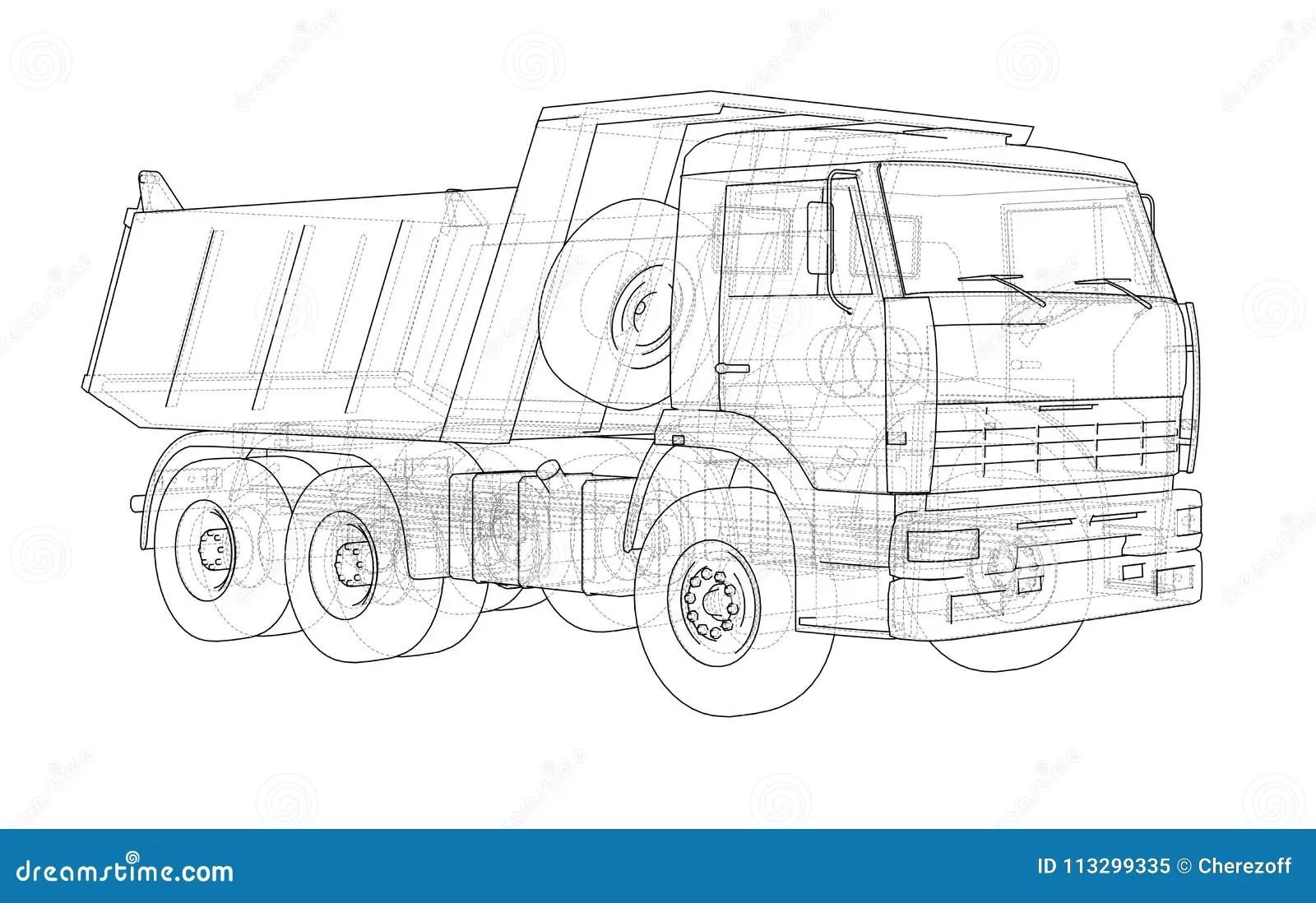 Dump Truck 3d Illustration Stock Illustration