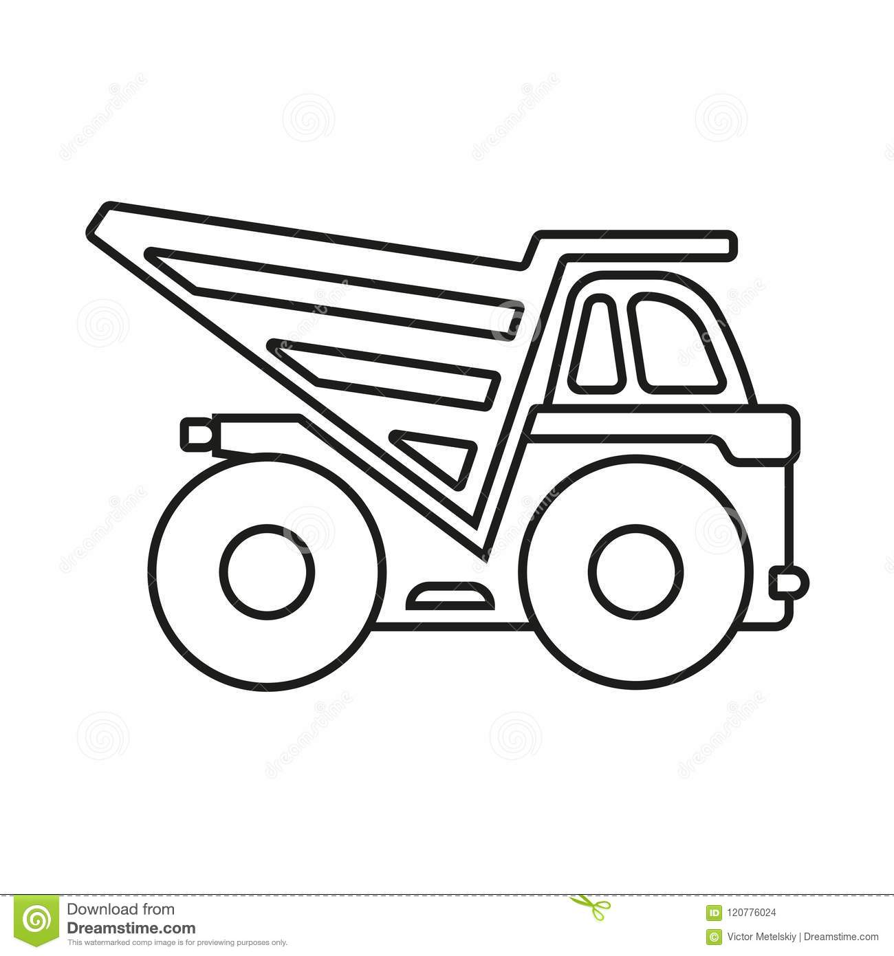 Dump Truck Outline Icon Construction Truck Isolated On