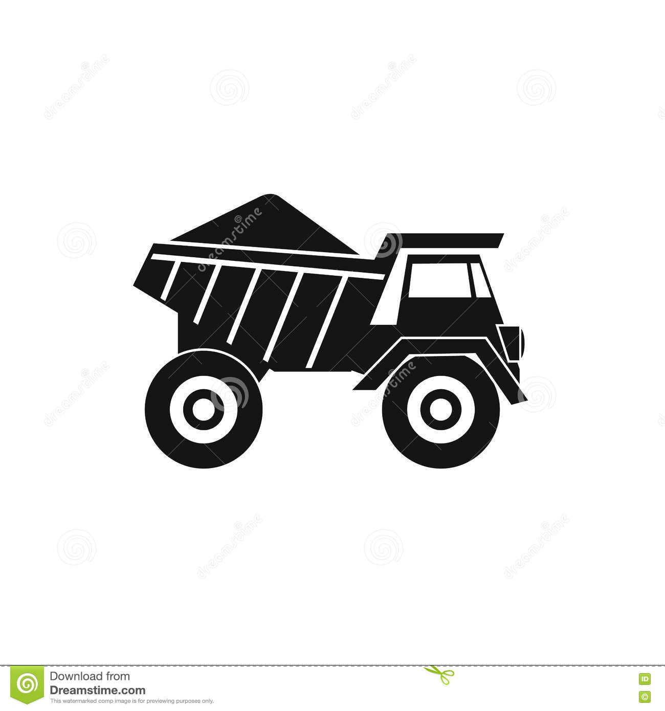 Dump Truck With Sand Icon Simple Style Stock Vector