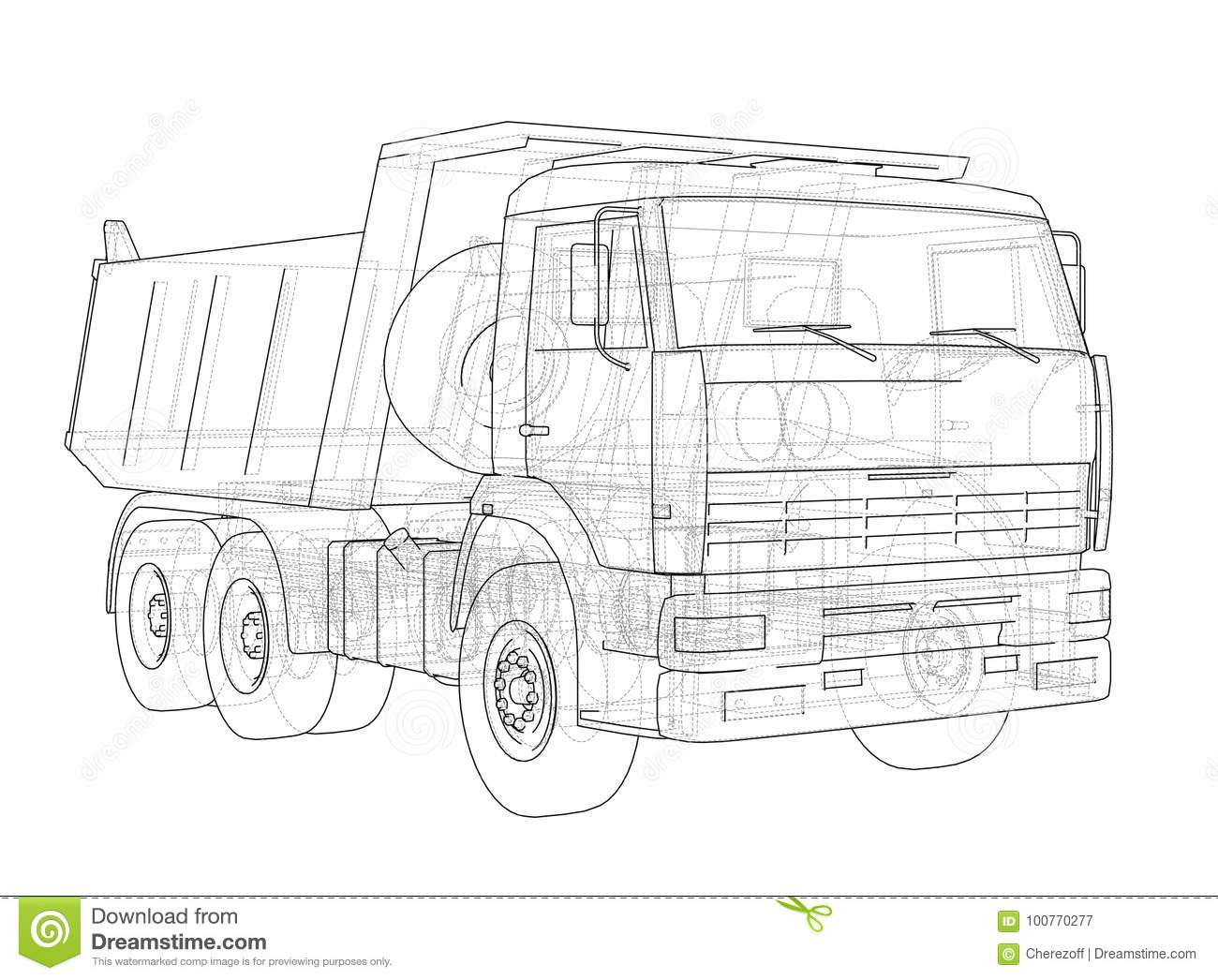 Dump Truck Vector Stock Vector Illustration Of Drawing