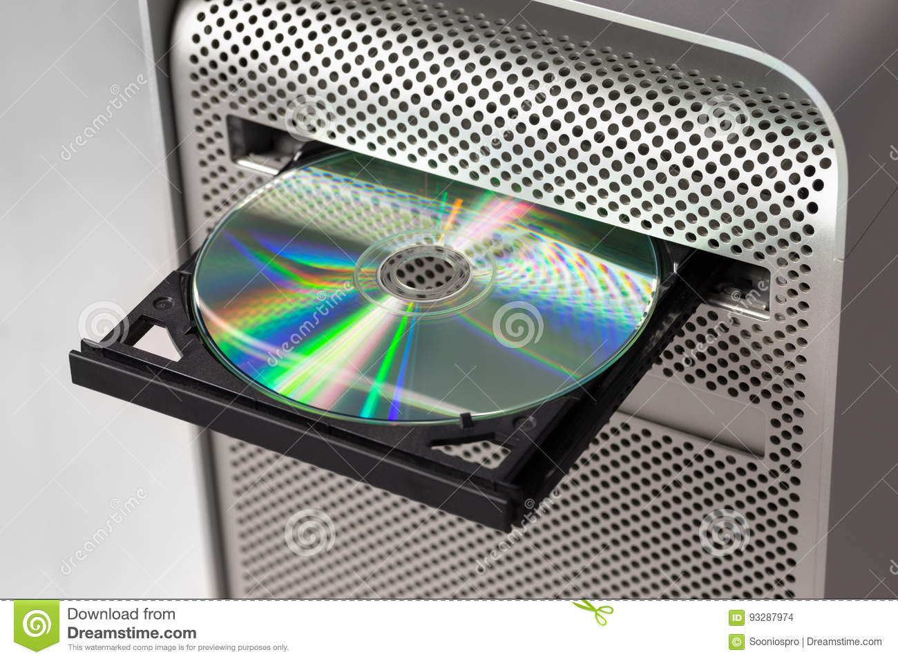 Dvd Cd Rom On A Computer Opened To Show Disc Stock Photo