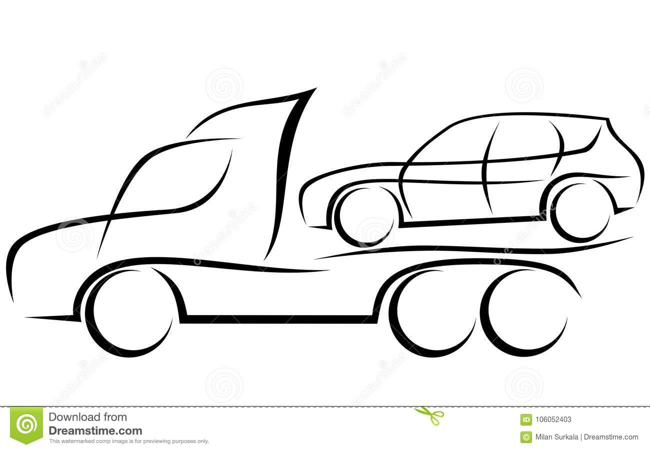 Dynamic Illustration Of A Tow Truck With A Car Stock