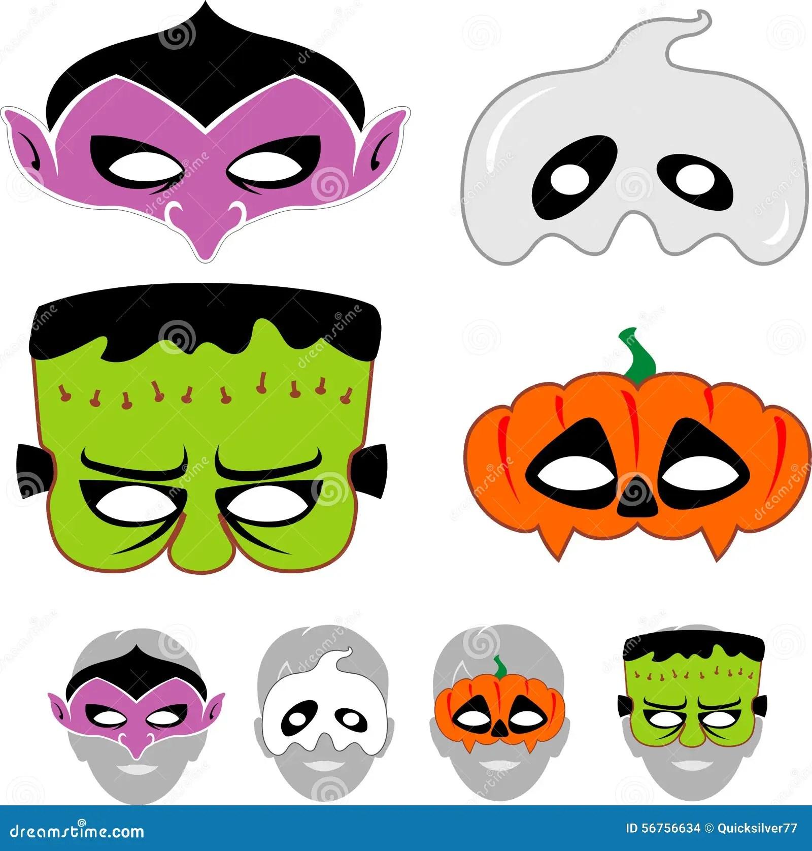 Dzieciaka Halloween Maski Ustawia Ilustracja Wektor