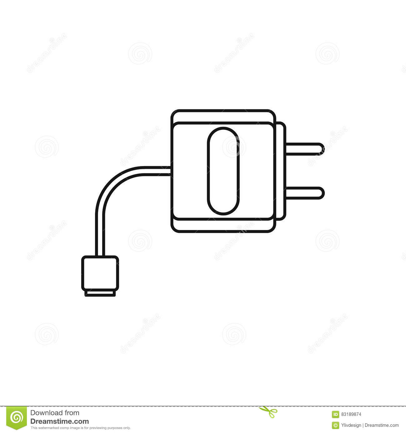 Electric Cable Icon Outline Style Cartoon Vector