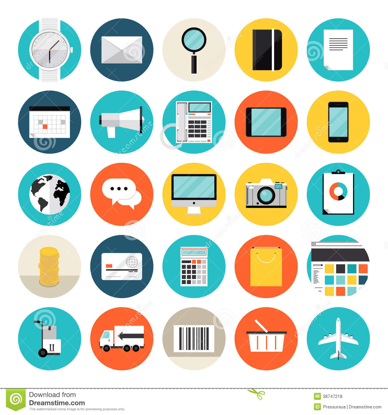E Commerce And Shopping Flat Icons Stock Vector