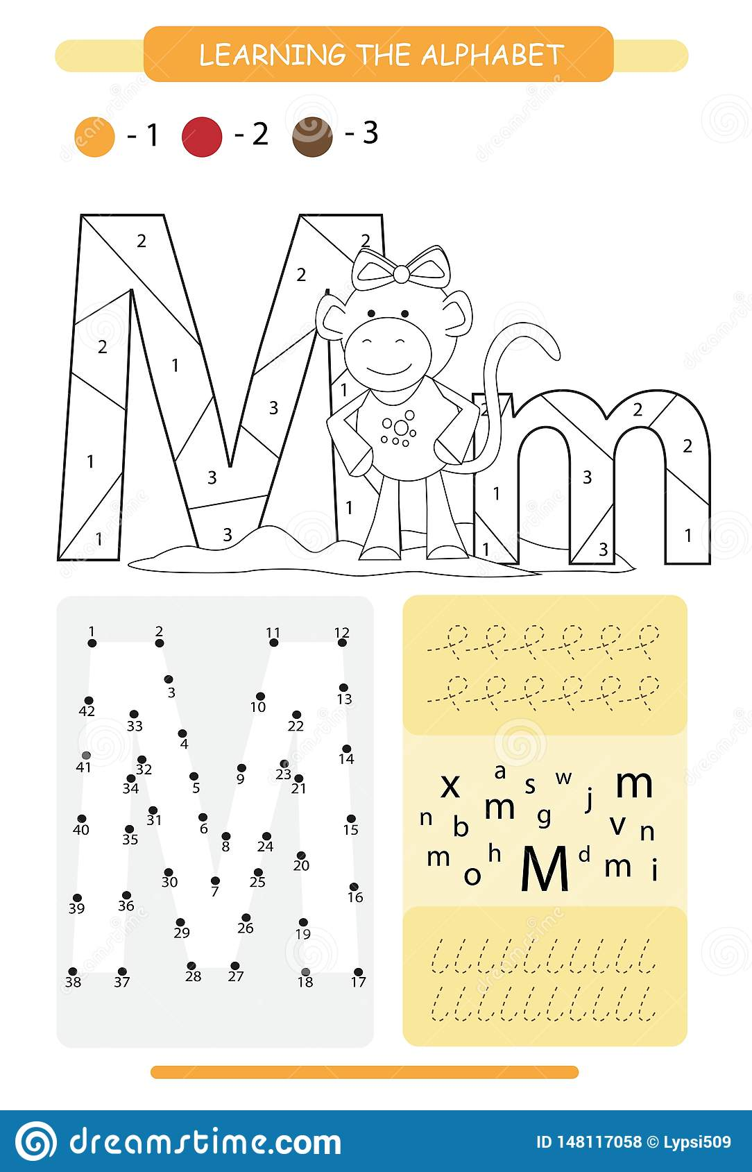 Letter M And Funny Cartoon Monkey Animals Alphabet A Z