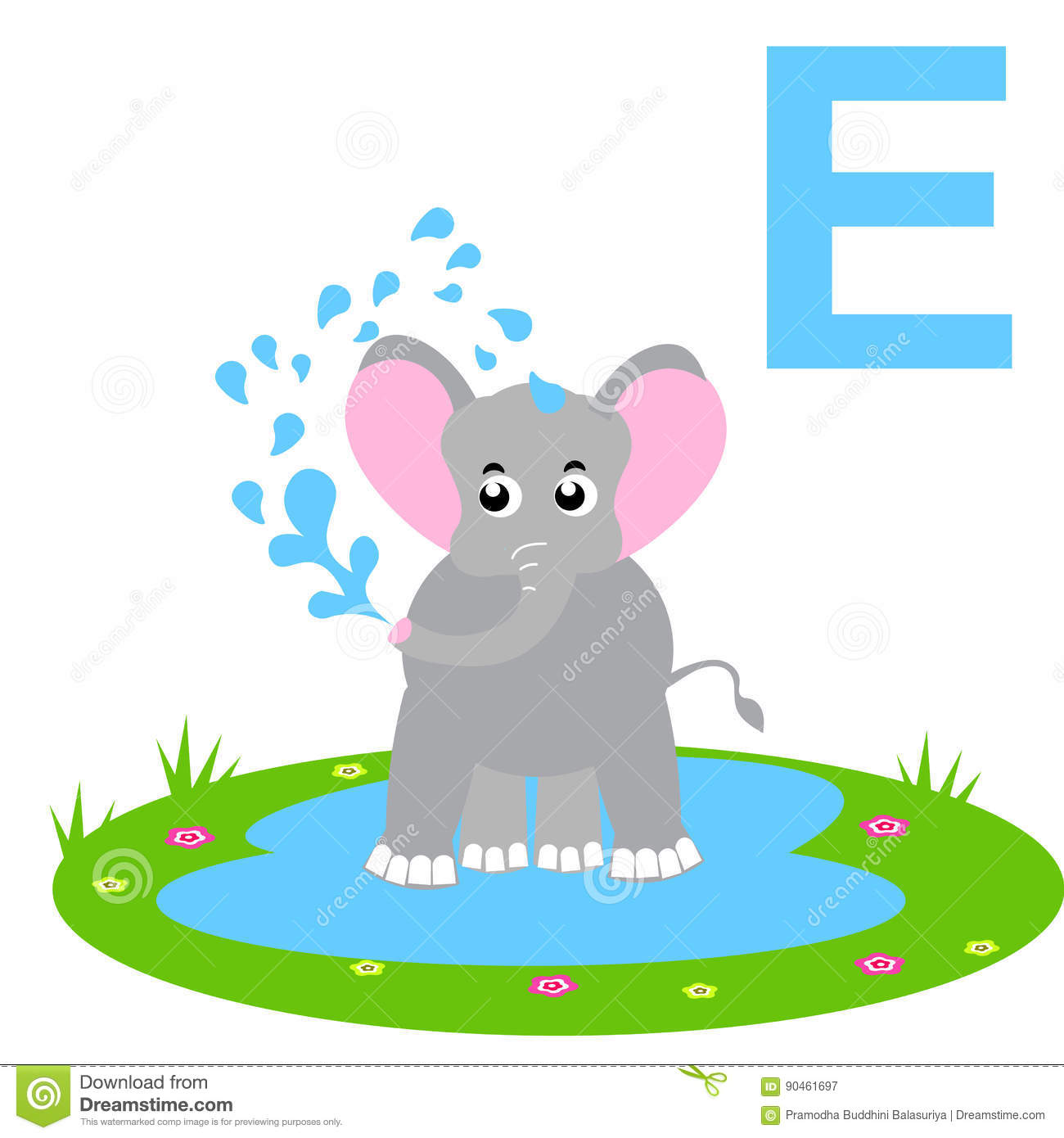 E For Elephant Kids Alphabet Stock Vector Illustration Of Games Facilities 90461697