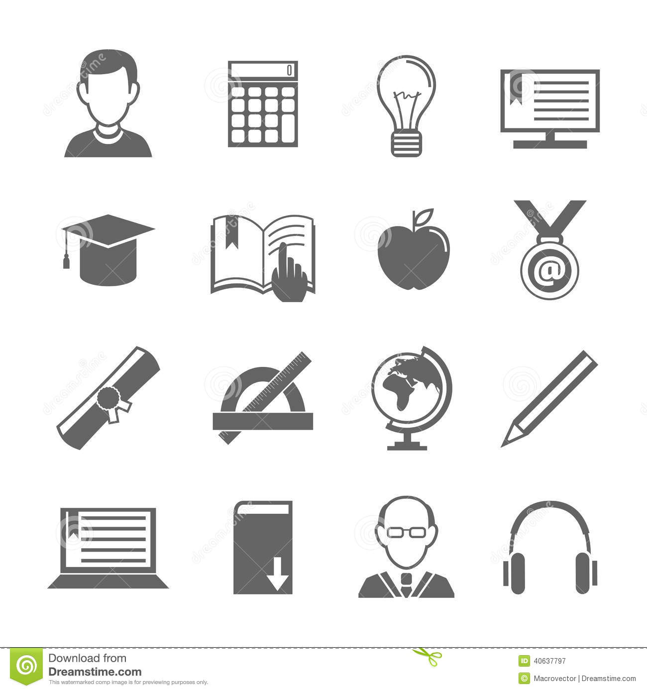 E Learning Icon Set Stock Vector