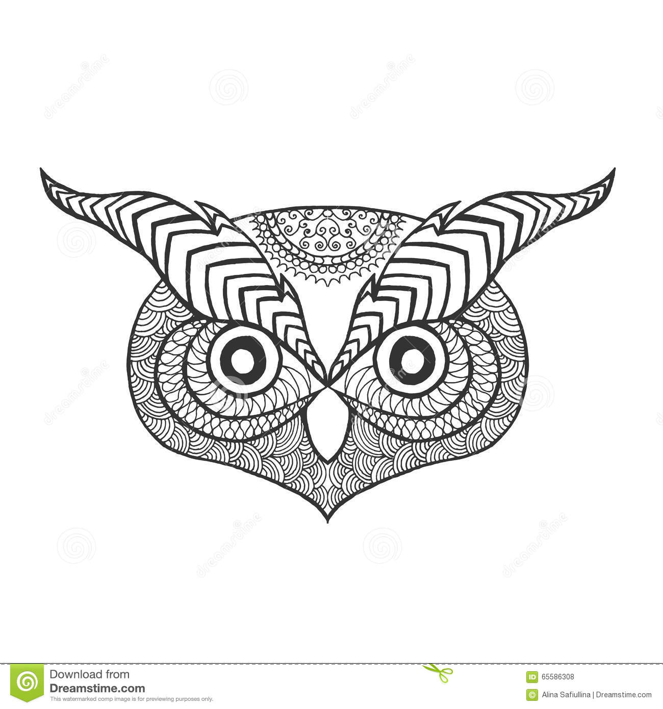 Eagle Owl Adult Antistress Coloring Page Cartoon Vector