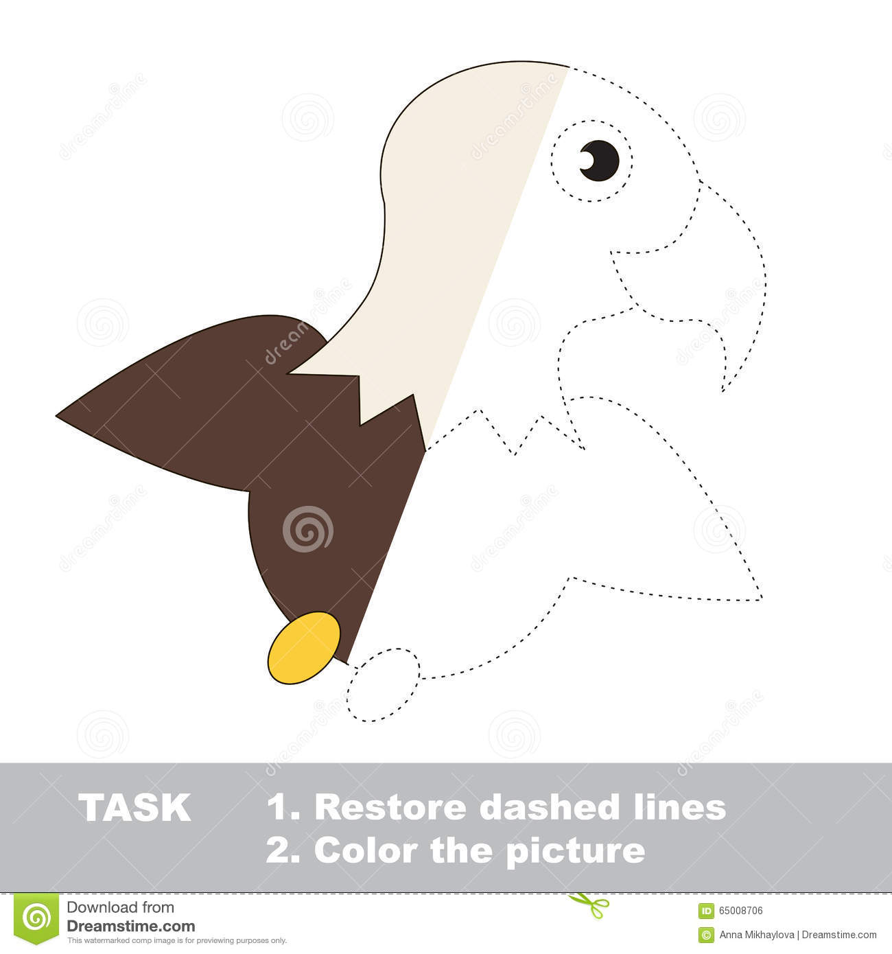 Eagle To Be Colored Vector Trace Game Stock Vector