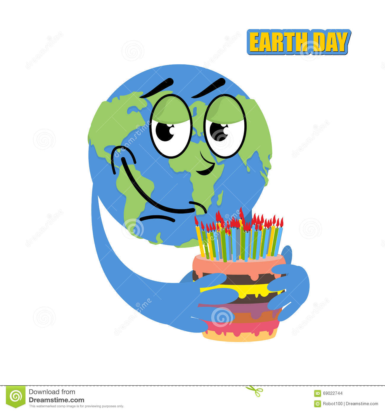 Earth Day Planet Earth And Cake Holiday Big Cake With